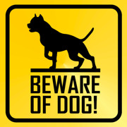 Beware of dog gul svart