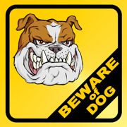 Beware of dog gul svart bulldog