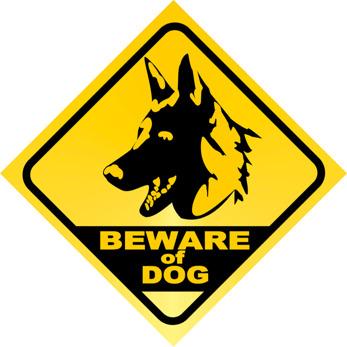 Beware of dog gul/svart schäfer