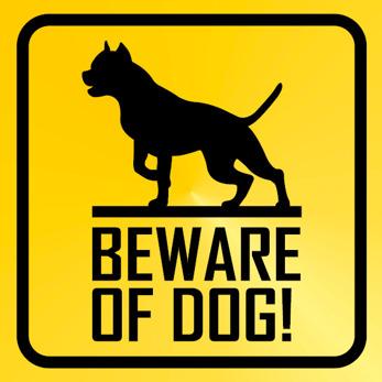 Beware of dog gul svart