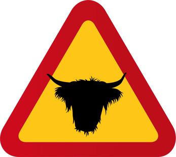 Highland cattle nr 2 - Varningstriangel