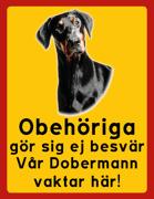Obehöriga göre sig ej besvär - Vår Dobermann vaktar här med porträtt