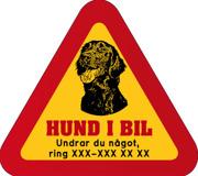 Dekal - Hund i bil med mobilnummer 73