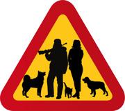 Jägare, hundar, kvinna, katt