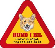 Dekal - Hund i bil med mobilnummer 81