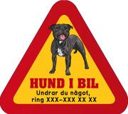 Dekal - Hund i bil med mobilnummer 77