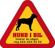Dekal - Hund i bil med mobilnummer 78