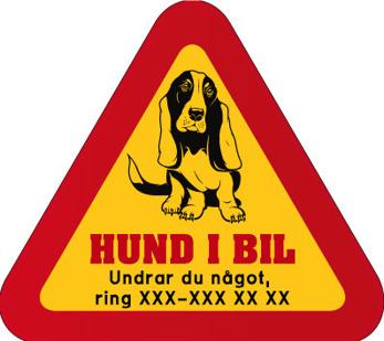 Dekal - Hund i bil med mobilnummer 84