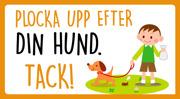 Plocka upp  efter din hund tack (orange, svart, liggande, med pojke och hund)