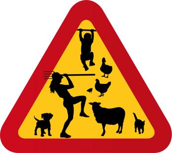 Barn, får, katt, höna, anka, kvinna med högaffel