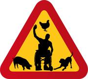 Man i rullstol, höna, gris & hund