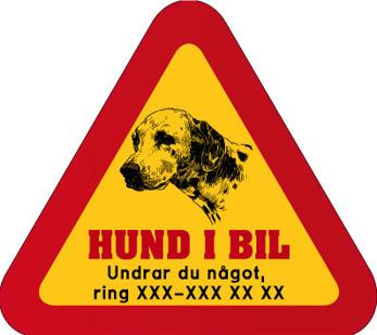 Dekal - Hund i bil med mobilnummer 85