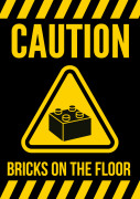 Lego - Caution bricks on the floor
