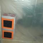 Luftrenare skapar ett undertryck i området som ska saneras.