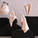 Samlingsbild på 4 olika skulpturer i snäckfragment 350kr/st
