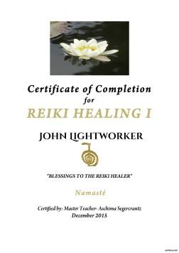 Reiki Certificate by Aschima