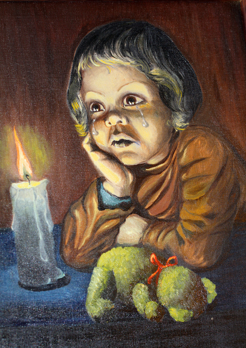 Pojken David, olja för att lära sig mer om ljussättning, 55 x 45 cm