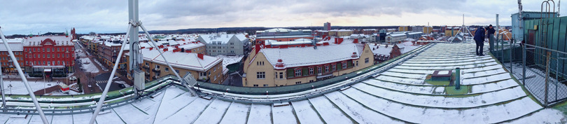 En panoramabild över Hässleholms centrum 2015-02-03