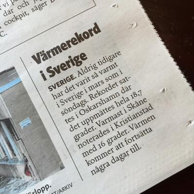 Ur tidningen Norra Skåne 2015-03-10