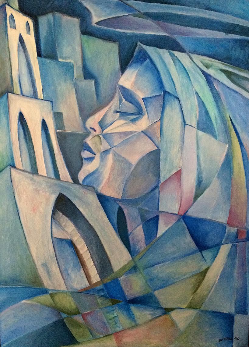 Kvinna i profil, olja, A2-format