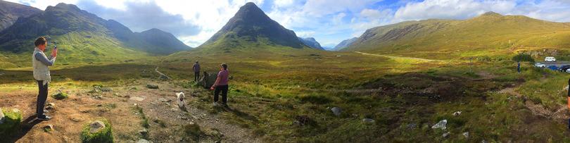Utsikt över fjällvärlden vid Glencoe i Skottland (augusti 2016)