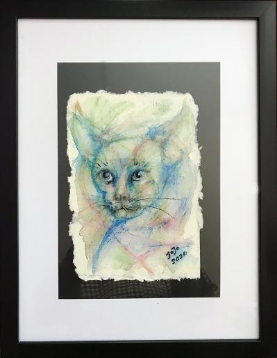 Katt I, mars 2020, akvarellkrita