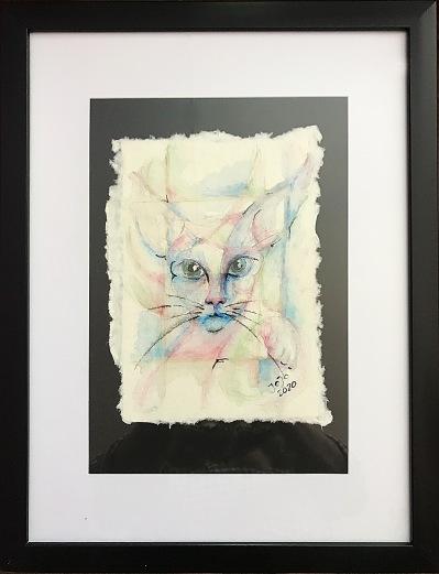 Katt II, mars 2020, akvarellkrita