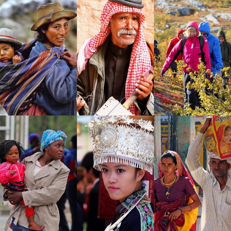 Människor från Peru, Jordanien, Sverige, Sydafrika, Kina och Indien