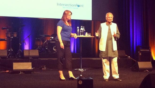 Katharina Paoli and Mohammad Yunus