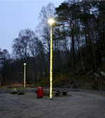 Birch poles with internal light are well suited for jogging trails.