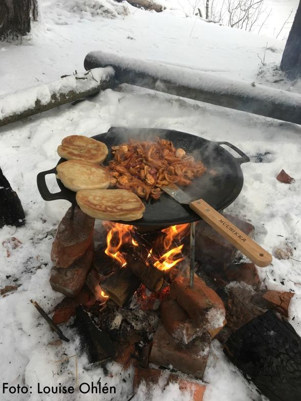 Mat bestående av bakat bröd med pulled kyckling, rödlök och champinjoner.