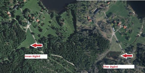 Flygbild över området där våtmarken har anlagts. Se skillanden mellan före och efter.