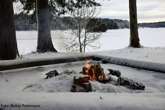 Värmande brasa i vinterkylan