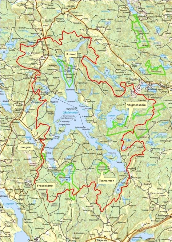 Utnäset, Vargmossarna, Timmermon, Fräkenkärret oh Tore grav är defem natureservaten som finns runt Likstammen.