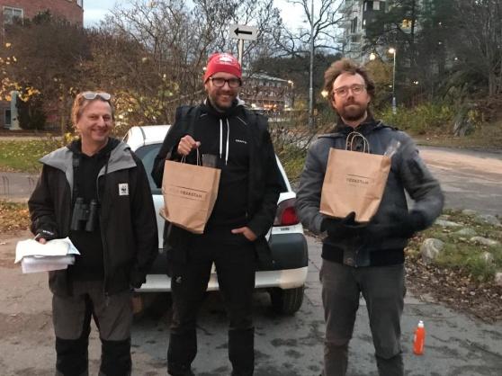 Vinnarna: Tom Arnbom och Martin Olgemar, Long Johns  Sparrow (51 arter) och Carl Bredberg , Ugglis (ekoklassen, 43 arter). Foto: Maria Böhm
