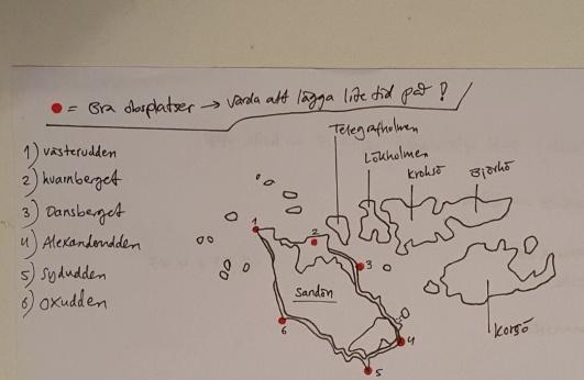 Bra obsplatser på Sandhamn. Karta: Per Åsberg
