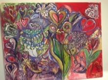 SÅLD Titel: Birdlove Typ: Målning Teknik: Olja  Storlek: 100cm x 80cm