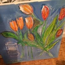Titel: Tulip Typ: Målning Teknik: Vattenbaserad olja och torrpastell  Storlek: 40 cm x 40 cm