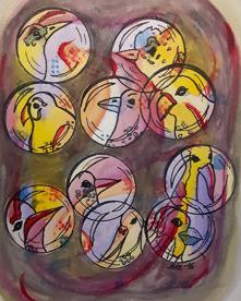 2.Fågelbubblor  akvarell 27x20,5