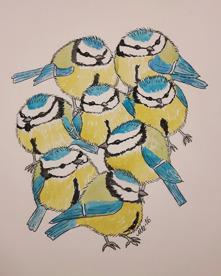 4.Bollfåglar  akvarell 20x18