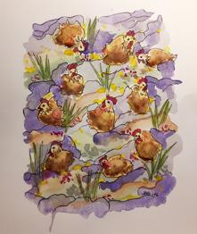10.Hönorna akvarell 24x18