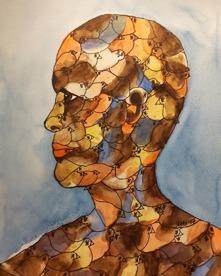 """Birdhead I "" Akvarell 30x23 700kr (utan ram)"