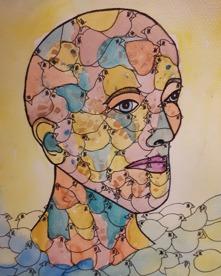 """Birdhead II "" Akvarell 30x23 700kr (utan ram)."
