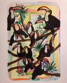 Akvarell 30x23  Tukaner
