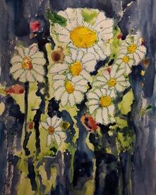 """""""Blommor i blått"""" Blandteknik på akvarellpapper 30x23"""