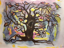 """Vårkväll"" Akvarell 30x23"
