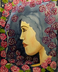 """Maria"" Akvarell/pastell 30x23"