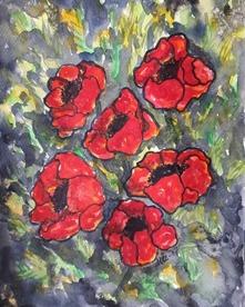 """""""Vallmo"""" Akvarell 30x23"""