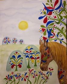 I kurbitsland    Akvarell 30x23