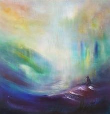 """""""Be the light"""" 60x62cm  akryl och tempera"""